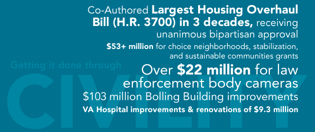Co-Authored Largest Housing Overhaul Bill (H.R. 3700) in 3 decates, receiving unanimous bipartisan approval $53+ million for choice neighborhoods, stabilization and sustainable communites grants  Over $22 million for law enforcement body cameras  $103 million Bolling Building improvements  VA Hospital improvements & renovations of $9.3 million